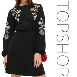 TOPSHOP - Embroidered Balloon Sleeve Skater Dress